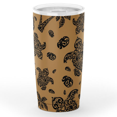 Image of Hawaii Polynesian Turtle Palm And Sea Pebbles Gold Tumbler