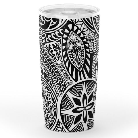 Hawaii Polynesian Style Tribal Tattoo White Tumbler - AH - J6 - Alohawaii