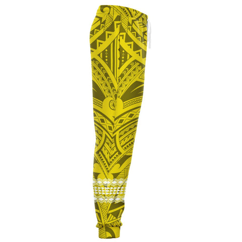 Image of Hawaii Warrior Map Yellow Kakau Joggers - AH - J1