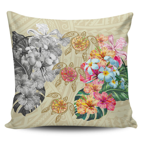 Hawaii Polynesian Flowers Swimming Turtles Pillow Covers