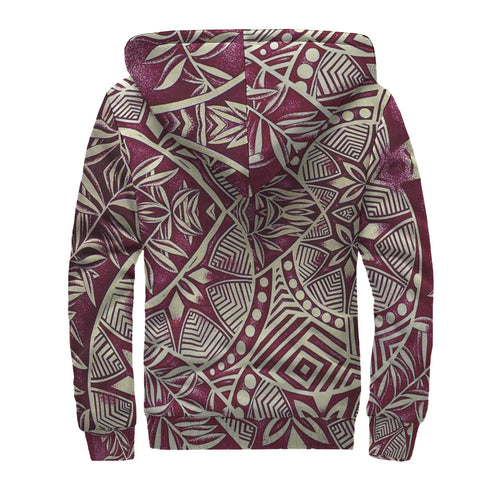 Image of Red Leaf Polynesian Sherpa Hoodie - AH J4 - Alohawaii