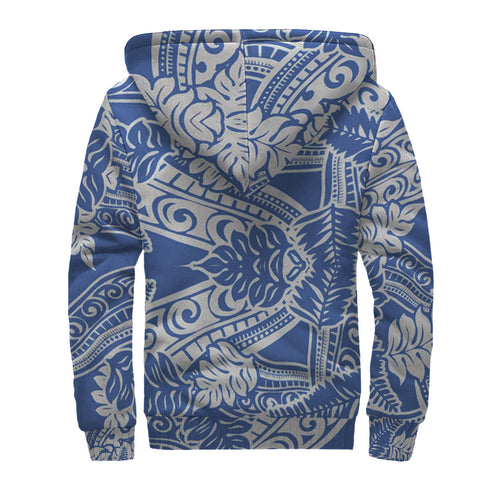 White and Blue Polynesian Sherpa Hoodie - AH J4 - Alohawaii
