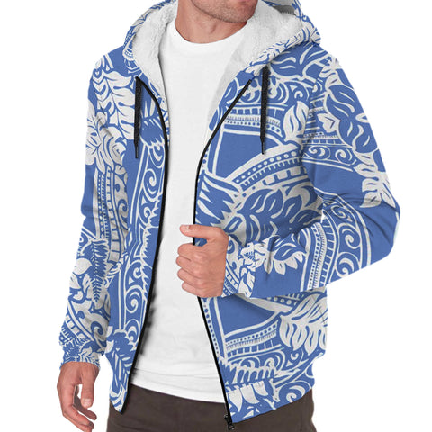 Image of White and Blue Polynesian Sherpa Hoodie - AH J4 - Alohawaii