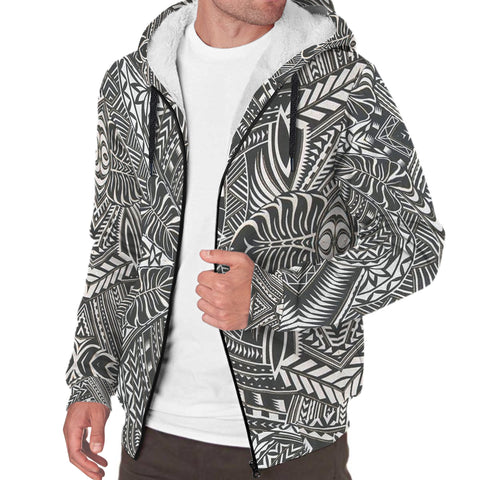 Black and White Palm Polynesian Sherpa Hoodie - AH J4 - Alohawaii