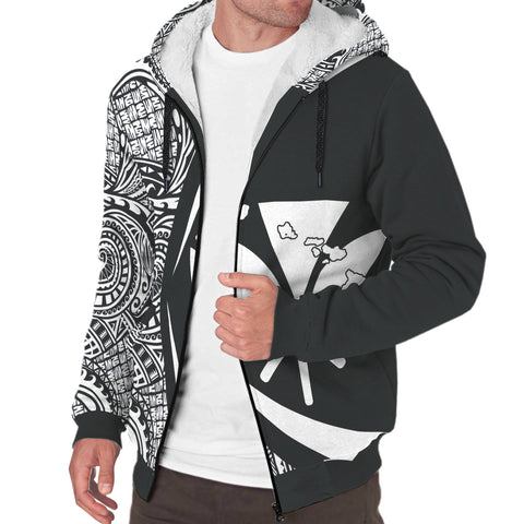 Image of Kanaka Hawaii Map White Polynesian Sherpa Hoodie - Circle Style AH J4 - Alohawaii