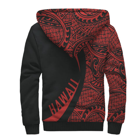 Image of Kanaka Hawaii Map Red Polynesian Sherpa Hoodie - Circle Style AH J4 - Alohawaii