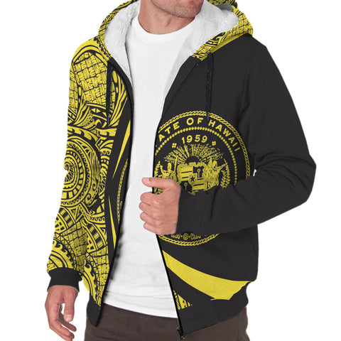 Hawaii Coat of Arms Yellow Polynesian Sherpa Hoodie - Circle Style AH J4 - Alohawaii