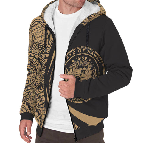 Image of Hawaii Coat of Arms Gold Polynesian Sherpa Hoodie - Circle Style - AH J4 - Alohawaii