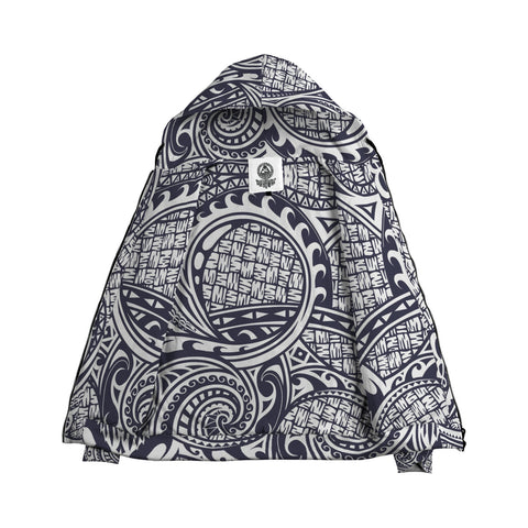 Image of Blue White Polynesian Pattern Zip Hoodie - AH J4 - Alohawaii