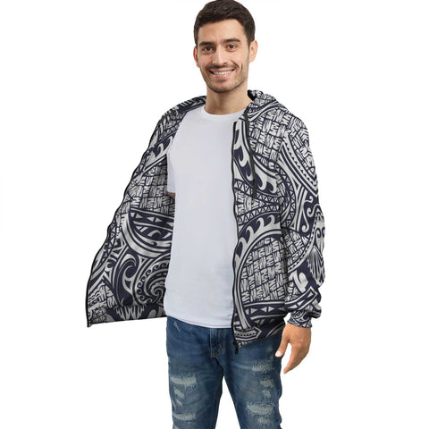 Image of White Blue Polynesian Inside Print Zip Hoodie - AH J4 - Alohawaii