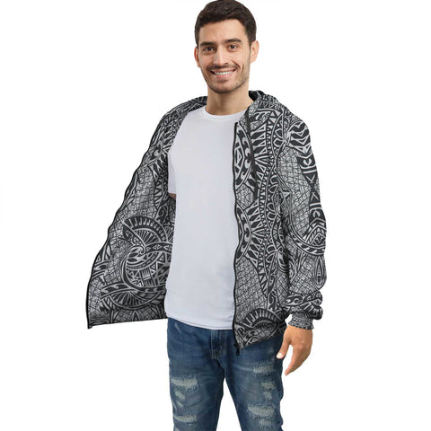 Image of Black White Polynesian Inside Print Zip Hoodie - AH J4 - Alohawaii
