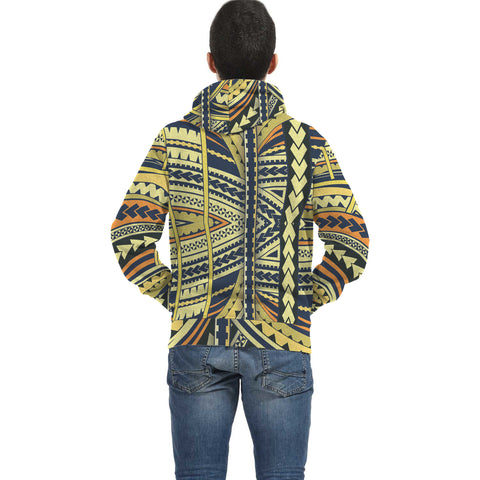 Colorful Hawaii Polynesian Inside Print Zip Hoodie - AH J4 - Alohawaii