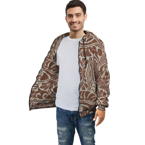 Brown Palm Polynesian Inside Print Zip Hoodie - AH J4 - Alohawaii