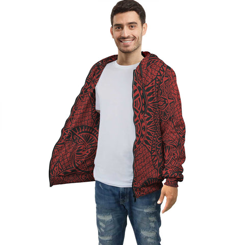 Image of Red Polynesian Inside Print Zip Hoodie - AH J4 - Alohawaii