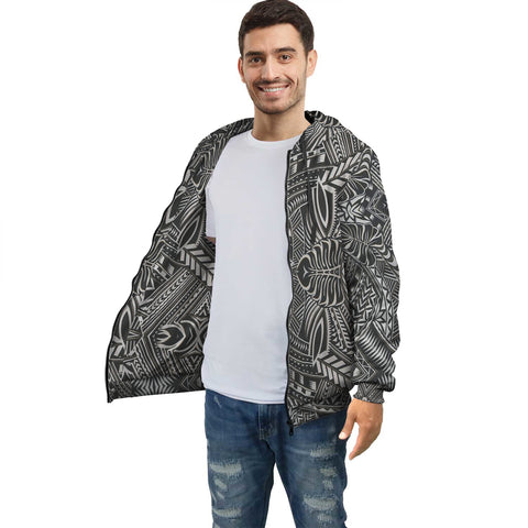 Image of White Palm Polynesian Inside Print Zip Hoodie