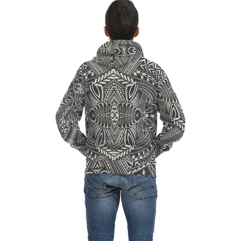 Image of White Palm Polynesian Inside Print Zip Hoodie - AH J4 - Alohawaii