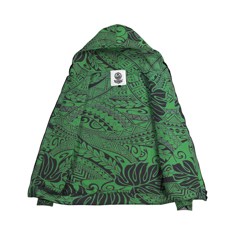 Image of Green Polynesian Inside Print Zip Hoodie - AH J4 - Alohawaii