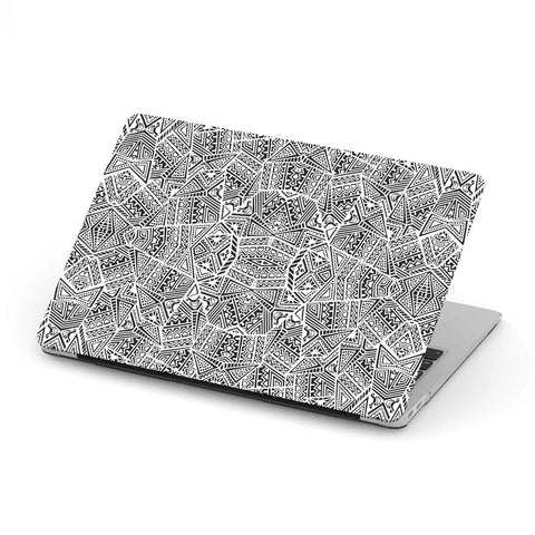 Polynesian MacBook Case White And Black - AH - J1 - Alohawaii