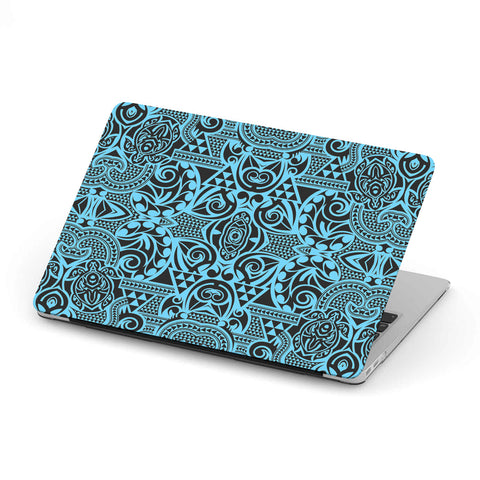Polynesian MacBook Case Grown Blue White - AH - J1 - Alohawaii