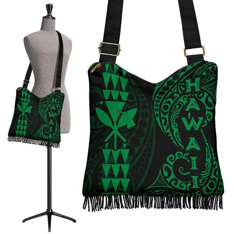 Hawaii Polynesian Crossbody Boho Handbag Green - AH J4