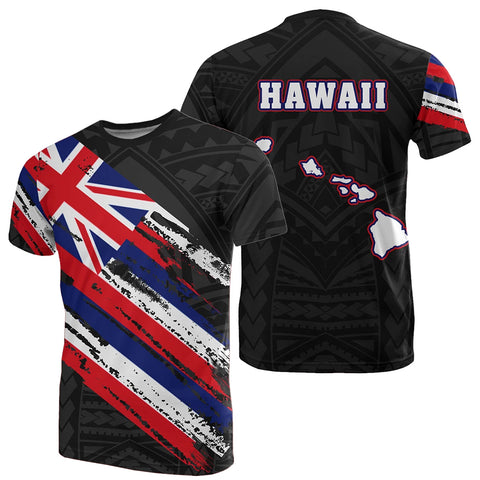Hawaii Flag Polynesian T-shirt Black - AH - J7