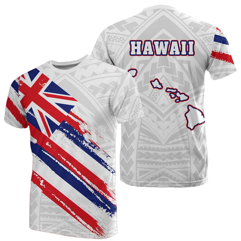 Hawaii Flag Polynesian T-shirt White - AH - J7 - Alohawaii