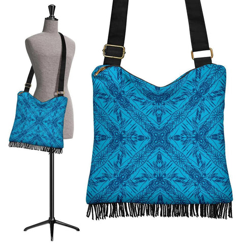 Hawaii Polynesian Tribal Crossbody Boho Handbag Blue Pattern - AH - J7