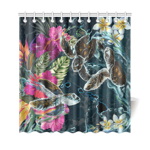 Hawaii Map Turtle Swimming Hibiscus Plumeria Moana Shower Curtain - AH - J5 - Alohawaii