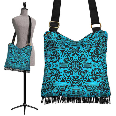 Hawaii Polynesian Tribal Crossbody Boho Handbag Turquoise - AH - J7