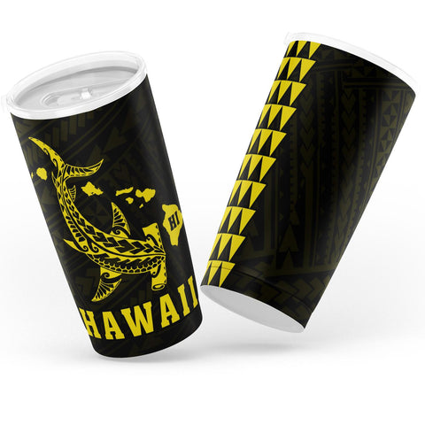 Kakau Polynesian Hammerhead Shark Map Hawaii Tumbler - Yellow - AH - J6 - Alohawaii