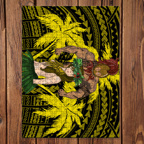 Hawaii Polynesian Warrior Hula Girl Jigsaw Puzzle - AH - Yellow - J5 - Alohawaii