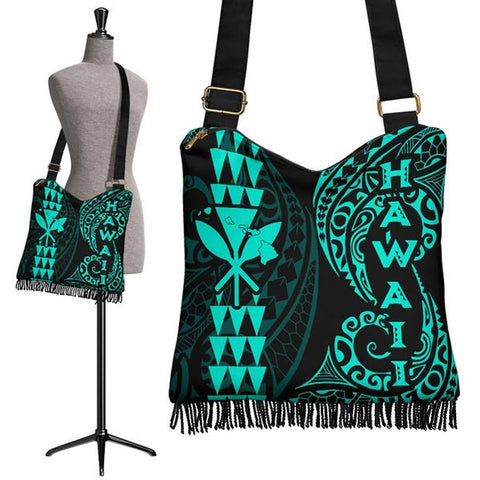 Image of Hawaii Polynesian Crossbody Boho Handbag Turquoise - AH J4