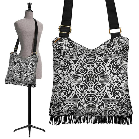 Hawaii Polynesian Tribal Crossbody Boho Handbag Black Pattern - AH - J7