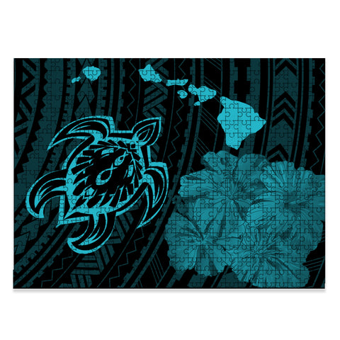 Hawaiian Hibiscus Sea Turtle Swim Polynesian Jigsaw Puzzle - AH - Blue - J5 - Alohawaii