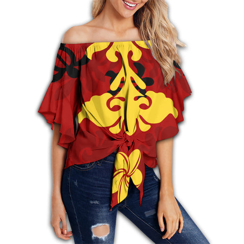Hawaiian Quilt Style Off Shoulder Waist Wrap Top | Alohawaii.co