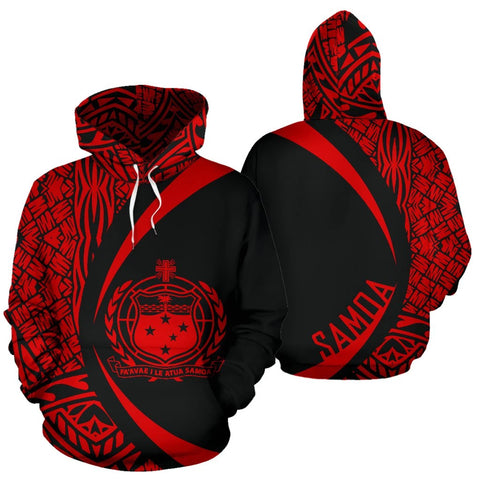 Samoa Polynesian Hoodie - Circle Style Red Color