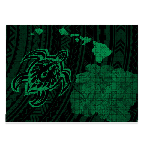 Hawaiian Hibiscus Sea Turtle Swim Polynesian Jigsaw Puzzle - AH - Green - J5 - Alohawaii