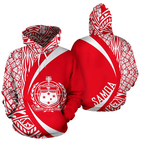 Samoa Polynesian Hoodie - Circle Style White And Red Color