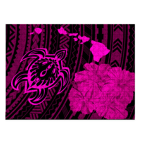 Image of Hawaiian Hibiscus Sea Turtle Swim Polynesian Jigsaw Puzzle - AH - Pink - J5 - Alohawaii