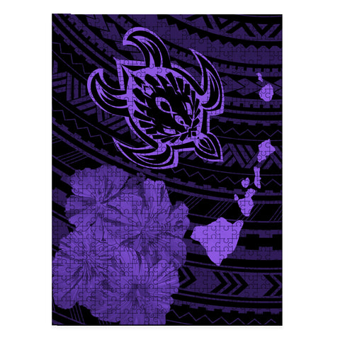 Hawaiian Hibiscus Sea Turtle Swim Polynesian Jigsaw Puzzle - AH - Purple - J5 - Alohawaii