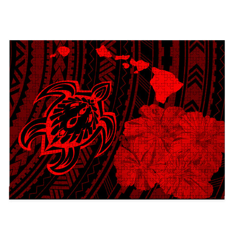 Hawaiian Hibiscus Sea Turtle Swim Polynesian Jigsaw Puzzle - AH - Red - J5 - Alohawaii
