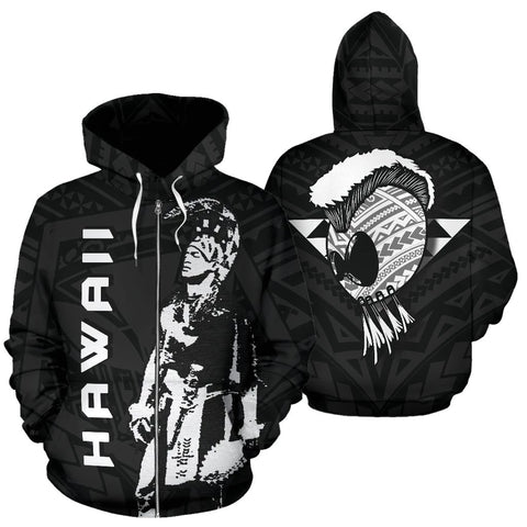 Image of Hawaii Helmet Polynesian Kanaka Warrior Hoodie (Zip) - AH - J1