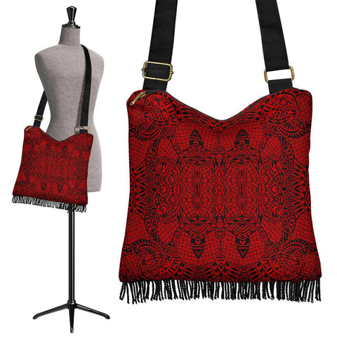 Polynesian Tribal Crossbody Boho Handbag Red - AH - J7
