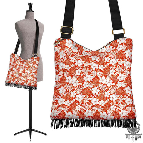Image of Hawaii Hibiscus Flower Pattern Crossbody Boho Handbag - AH - J71 - Alohawaii