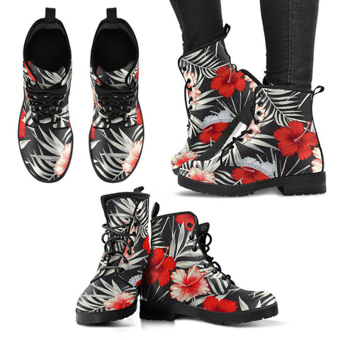 Hawaiian Hibiscus Palm Leather Boots - AH J2