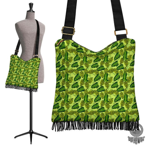 Hawaii Tropical Green Crossbody Boho Handbag - AH - J71 - Alohawaii
