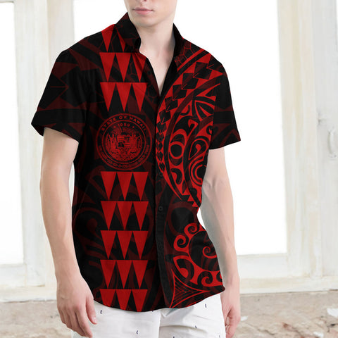 Hawaii Coat Of Arms Short Sleeve Shirt Red - AH J4 - Alohawaii