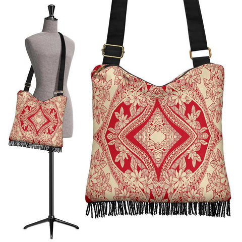 Polynesian Tribal Crossbody Boho Handbag Red Pattern - AH - J7