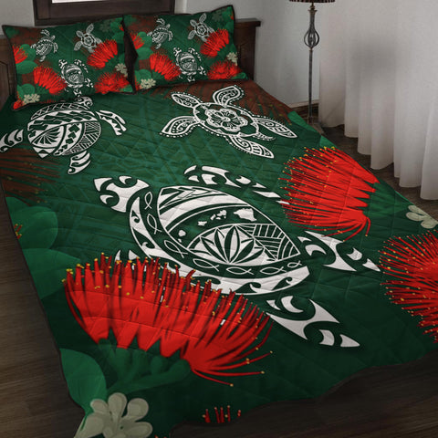 Hawaii Lehua Flowers Turtle Poly Quilt Bed Set - Ser Style - AH J8