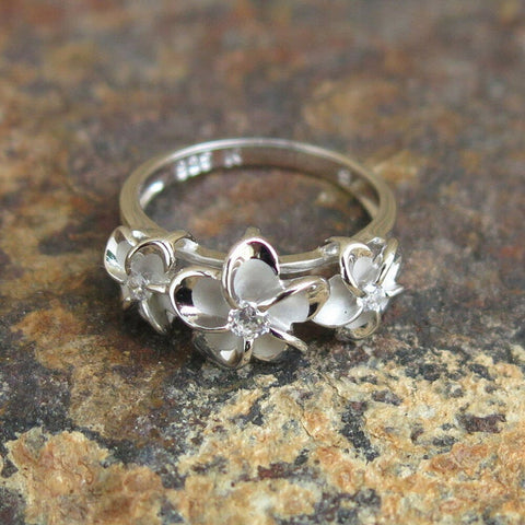 Hawaii Sterling Silver Three Plumeria Flowers CZ Wedding Ring - AH - J7 - Alohawaii